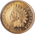 Proof Indian Cents: , 1865 1C PR64 Cameo PCGS. Reflective orange-gold surfaces exhibit traces of silver-mauve color along the right obverse and a...