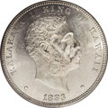 Coins of Hawaii: , 1883 $1 Hawaii Dollar MS62 PCGS. Essentially untoned surfacesexhibit rather nice field-motif...