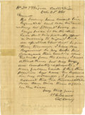 "Autographs:Military Figures, Confederate Nathan ""Shanks"" Evans War-Date Letter. A fine October23, 1861 ALS to Gen. Joe Johnston signed with his (then) r..."