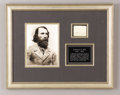 """Military & Patriotic:Civil War, Rare Confederate General Ambrose P. Hill Endorsement Signed """"A.P. Hill"""", one page, 3"""" x 2.25"""", framed and matted under g..."""
