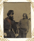 Military & Patriotic:Civil War, Gem Size Tintype of Union Officer and Contraband Child. A gem-sized tintype of an unidentified Union officer and a Black chi...