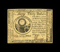 Colonial Notes:Continental Congress Issues, Continental Currency May 10, 1775 $30 Very Choice New. This note isvery well margined, nicely signed with three strong vign...