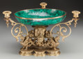 Decorative Arts, French:Other , A French Gilt Bronze and Malachite Three-Light Centerpiece, 20thcentury. 10 inches high x 18 inches wide (25.4 x 45.7 cm). ...