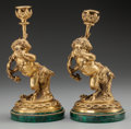 Decorative Arts, French:Other , A Pair of French Gilt Bronze and Malachite Putti Candlesticks, 19thcentury. 9-1/2 inches high (24.1 cm). ... (Total: 2 Items)