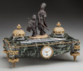 Decorative Arts, French:Other , An Oudin Marseille Marble, Gilt and Patinated Bronze Figural ClockInkwell, 19th century. Marks to clock face: OUDIN MARSE...