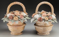 Decorative Arts, Continental:Other , A Pair of Italian Carved Marble Flower Baskets, 20th century. 18inches high x 16 inches wide (45.7 x 40.6 cm). ...