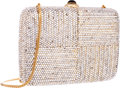 """Luxury Accessories:Bags, Judith Leiber Full Bead Silver Crystal Rectangular MinaudiereEvening Bag . Very Good to Excellent Condition . 6.5""""Wi..."""