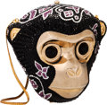 "Luxury Accessories:Bags, Judith Leiber Half Bead Black & Purple Crystal Monkey HeadMinaudiere Evening Bag. Very Good Condition. 6.5"" Width x7..."