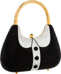 Luxury Accessories:Bags, Kathrine Baumann Limited Edition Full Bead Black & SilverCrystal Tuxedo Minaudiere Evening Bag, 18/500. Very Good toExce...