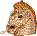Luxury Accessories:Bags, Kathrine Baumann Limited Edition Full Bead Gold Crystal TrojanHorse Head Minaudiere Evening Bag, 14/500. Good to VeryGoo...