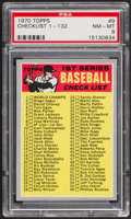 Baseball Cards:Singles (1970-Now), 1970 Topps Checklist #1-132 #9 PSA NM-MT 8....