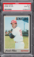 Baseball Cards:Singles (1970-Now), 1970 Topps Hank Allen #14 PSA Gem Mint 10 - Pop Three....