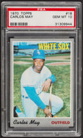 Baseball Cards:Singles (1970-Now), 1970 Topps Carlos May #18 PSA Gem Mint 10 - Pop Two....