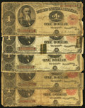 Large Size:Group Lots, A Well Circulated Quintet of $1 Treasury Notes.. ... (Total: 5 notes)