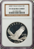 Modern Issues, 2008-P $1 Bald Eagle PR70 Ultra Cameo NGC. NGC Census: (3842). PCGS Population (365). Numismedia Wsl. Price for problem fr...