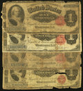 Large Size:Group Lots, A Quartet of Well Traveled Martha Washington $1 Silver Certificates. . ... (Total: 4 notes)