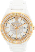 """Luxury Accessories:Accessories, Versace Diamond, Gold Plated Stainless Steel & White Enamel Watch. Excellent Condition. 1.5"""" Width x 7.5"""" Length. ..."""