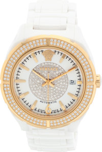 """Versace Diamond, Gold Plated Stainless Steel & White Enamel Watch Excellent Condition 1.5"""" Width"""
