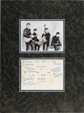 Music Memorabilia:Autographs and Signed Items, Beatles Early Signatures on the Back of a Promotional Photo Card in Matted Display (Hamburg, 1962)....