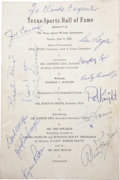 Autographs:Letters, Texas Sports Hall of Fame Luncheon Program Autographed. A dinnerfor the induction to the Texas Sports Hall of Fame attract...