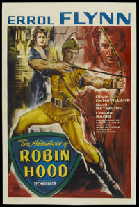"The Adventures of Robin Hood (Warner Brothers, R-1950s). British One Sheet (27"" X 40.75""). Adventure"