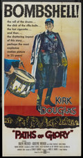 "Movie Posters:War, Paths of Glory (United Artists, 1958). Three Sheet (41"" X 80"").War...."