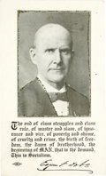 Political:Small Paper (1896-present), Eugene V. Debs: An Appealing 1908-Postmarked Campaign Postcard...