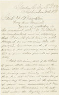"""Autographs:Military Figures, [General Joseph Hooker] Secretarially Written and Signed Letter. Two pages, 5"""" x 8"""", Garden City, New York, September 4, 187..."""
