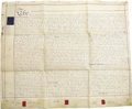 Miscellaneous:Ephemera, Huge New York Vellum Land Deed, conveying land from William JamesSt. John to Luke Harrison and George Browne, two separate ...