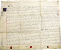 Huge New York Vellum Land Deed, conveying land from William James St. John to Luke Harrison and George Browne, two separ...