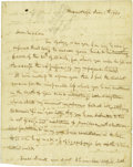 "Autographs:U.S. Presidents, Mrs. Andrew Jackson Dictated Letter Signed, ""Rachel Jackson,"", two pages and address panel, 8"" x 10"", The Hermitage, Jun..."