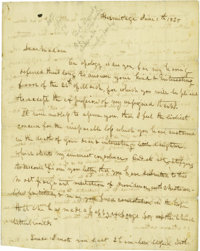 "Mrs. Andrew Jackson Dictated Letter Signed, ""Rachel Jackson,"", two pages and address panel, 8"" x 10""..."