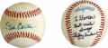 Autographs:Baseballs, Steve Carlton and Rickey Henderson Single Signed Baseballs Lot of2. Hall of Fame ace Rickey Henderson is joined here by fut...