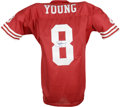 Football Collectibles:Others, Steve Young Signed Jersey. New with tags red mesh San Francisco 49ers Wilson jersey seen here sports a clean application of...