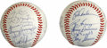 Autographs:Baseballs, 1982 and 1983 Team Signed Baseballs Lot of 2. This pair ofbaseballs comes one each from the 1982 and 1983 Cleveland Indian...