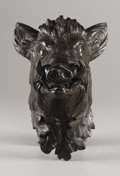 Fine Art - Painting, European, A French Bronze Head of a Boar. . French, early 20th century.Bronze with brown patina. 12 x 8 x 8 inches. ...