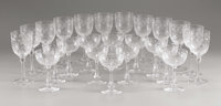 A Group of 24 English Glasses Webb Corbett, England 20th Century Etched and cut crystal Marks: Acid s