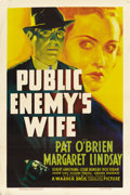 "Movie Posters:Crime, Public Enemy's Wife (Warner Brothers, 1936). One Sheet (27"" X 41"")...."