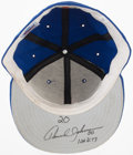 Baseball Collectibles:Hats, 1990s Howard Johnson Game Worn, Signed New York Mets Cap....