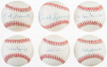 Baseball Collectibles:Balls, Hall of Famers Single Signed Baseballs Lot of 6....