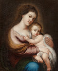 Fine Art - Painting, European:Antique  (Pre 1900), Edouard-Denis Baldus (French, 1813-1889) After Bartlomé EstebanMurillo. Virgin and Child, 1841. Oil on canvas. 18-1/4 x...