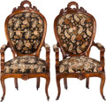 Furniture : French, A Pair of French Louis Philippe-Style Needlepoint Upholstered OakFauteuils, 19th century. 50-1/2 inches high x 25 inches wi...(Total: 2 Items)