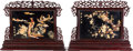 Asian:Chinese, A Pair of Chinese Mahogany Framed Hardstone Pictorial TableScreens, 20th century. 29 inches high x 38 inches wide (73.7 x 9...(Total: 2 Items)