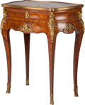 Furniture : French, A Louis XVI-Style Parquetry and Gilt Bronze Two-Drawer Side Table with Marble Top, 19th century. 31 inches high x 24-1/2 inc...