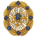 Estate Jewelry:Pendants and Lockets, Diamond, Synthetic Sapphire, Gold Pendant-Brooch. ...