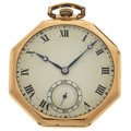 Timepieces:Pocket (post 1900), Perrenoud (Swiss) 14k Gold Open Face Pocket Watch. ...
