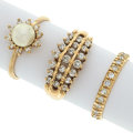 Estate Jewelry:Rings, Diamond, Cultured Pearl, Gold Rings. ...