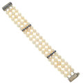 Estate Jewelry:Bracelets, Cultured Pearl, Diamond, Sapphire, White Gold Bracelet. ...