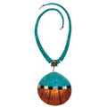 Estate Jewelry:Necklaces, Turquoise, Shell, Mother-of-pearl, Black Onyx, Sterling SilverNecklace. ...