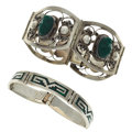 Estate Jewelry:Lots, Chrysoprase, Malachite, Sterling Silver Jewelry. ... (Total: 2Items)